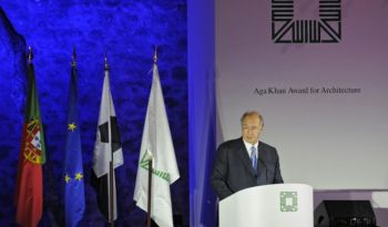 His Highness the Aga Khan addresses the audience during the award ceremony of the 12th cycle of the Aga Khan Award for Architecture, presented in Lisbon, Portugal. AKDN / Gary Otte
