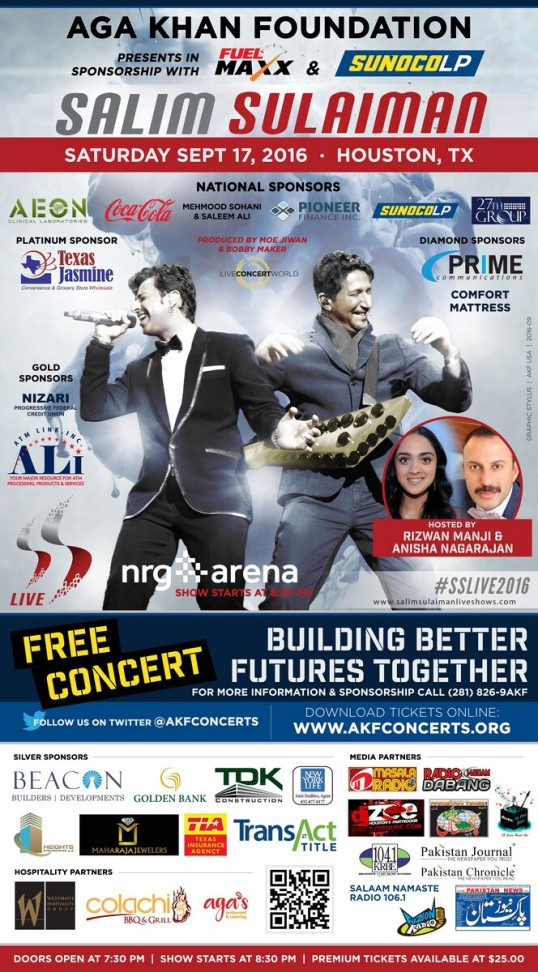 Aga Khan Foundation Southwest USA Presents Indian Music Director-duo Salim-Sulaiman Live In Concert on Saturday September 17, 2016