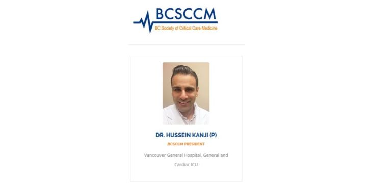 Dr. Hussein Kanji appointed President of British Columbia Society of Critical Care Medicine
