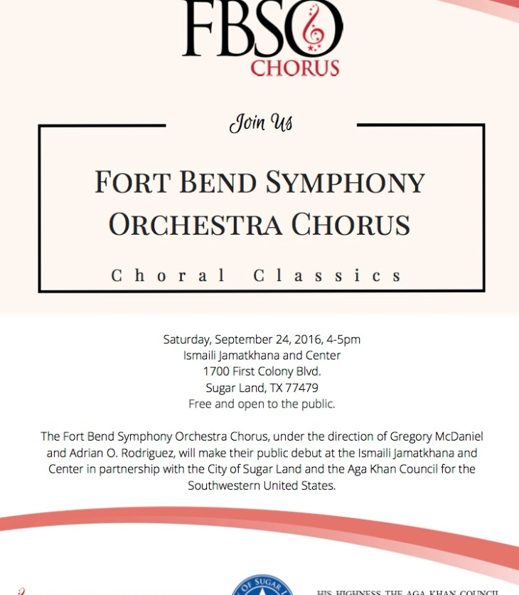 The Aga Khan Council for the Southwestern United States in partnership with the City of Sugar Land and the Fort Bend Symphony Orchestra
