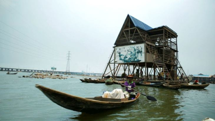 The 3 floor triangular A frame, Makoko Floating School, Lagos, Nigeria