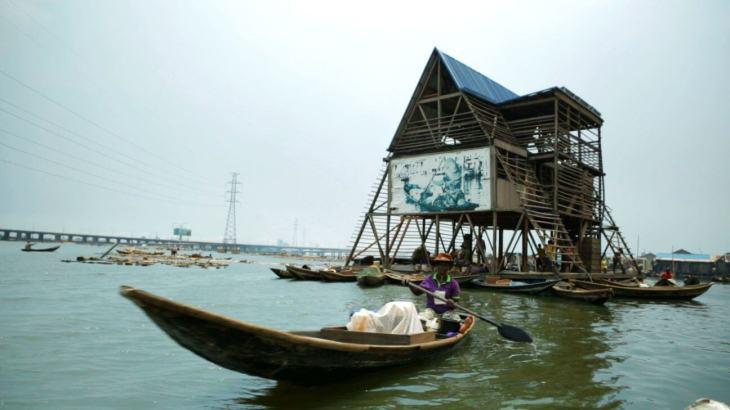 The 3 floor triangular A frame, Makoko Floating School, Lagos, Nigeria