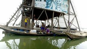 Recycled empty plastic barrels, Makoko Floating School, Lagos, Nigeria