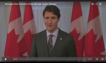 Prime Minister Justin Trudeau congratulates His Highness the Aga Khan
