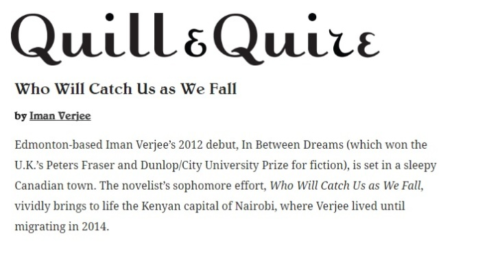 Book Reviews of Iman Verjee's second novel: Who Will Catch Us As We Fall