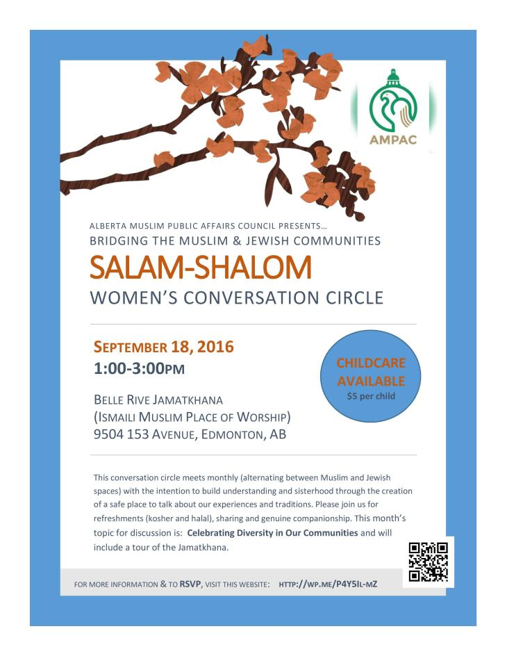 Salam-Shalom Muslim Jewish Women's Circle to meet at Edmonton Belle Rive Jamatkhana, September 18, 2016