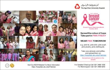 Clad in pink, men and women to walk for breast cancer awareness at the Aga Khan University Hospital, Karachi