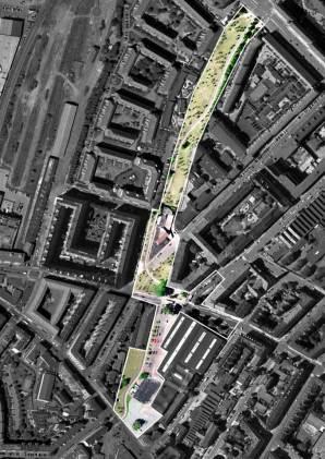Aerial view - Aga Khan Award for Architecture 2016 Winner: Superkilen, Copenhagen, Denmark