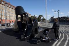 Children playing on the Black octopus. Aga Khan Award for Architecture 2016 Winner: Superkilen, Copenhagen, Denmark