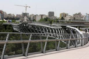 Traffic jam in Tehran. Aga Khan Award for Architecture 2016 Winner: Tabiat Pedestrian Bridge, Tehran