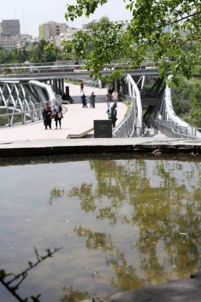 View from the park. Aga Khan Award for Architecture 2016 Winner: Tabiat Pedestrian Bridge, Tehran