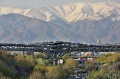 View from the south. Aga Khan Award for Architecture 2016 Winner: Tabiat Pedestrian Bridge, Tehran