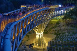 Three dimensional truss. Aga Khan Award for Architecture 2016 Winner: Tabiat Pedestrian Bridge, Tehran