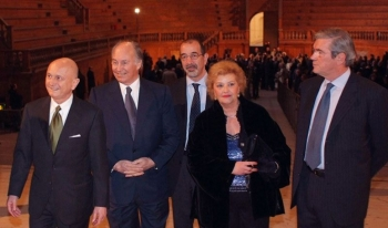 Mr. Elvio Ubaldi, Mayor of Parma; His Highness the Aga Khan; Mr. Meli, Sovraintendente Teatro Regio, Mrs. Lucia Fornari, Sovraintendente alle Belle Arti; and Senatore Pietro Lunardi