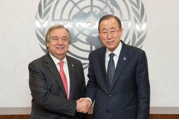 The newly elected United Nations Secretary-General, Antonio Guterres, pictured here last year while serving as High Commissioner of the UN refugee agency, together with the outgoing United Nations Secretary-General Ban Ki-moon. (Image credit: UN News Center)