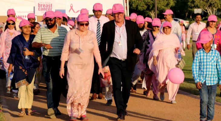 Breast cancer most common cancer among Pakistani women: Clad in pink, men and women walk for breast cancer awareness at the Aga Khan University Hospital, Karachi, Pakistan