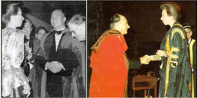 Her Royal Highness Princess Anne bestows D. Litt. (honoris causa), on His Highness Prince Karim Aga Khan at University of London, United Kingdom (1989-10-11)