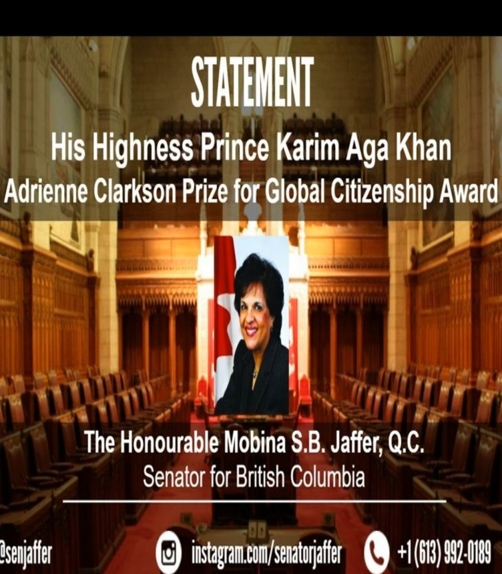 Senator Mobina Jaffer Congratulates the Aga Khan on receiving the first inaugural Adrienne Clarkson Prize for Global Citizenship