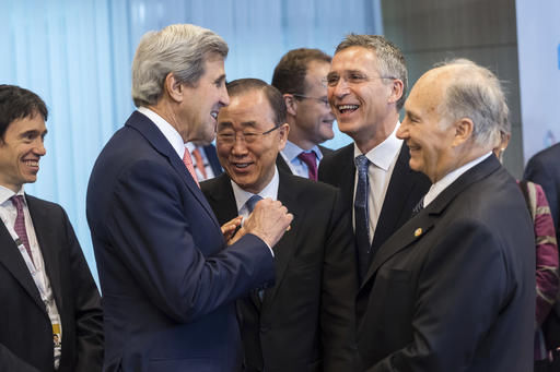 (L-R) U.S. Secretary of State John Kerry, U.N. Secretary General Ban Ki-moon, NATO Secretary-General Jens Stoltenberg and His Highness the Aga Khan, spiritual leader of Shia Ismaili Muslim community, attend the Brussels Conference on Afghanistan, in Belgium, October 5, 2016. REUTERS/Francois Lenoir