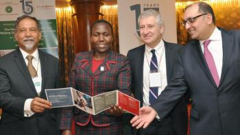 Deputy Director of Medical Services in the Ministry of Health Dr. Pacifica Onyancha [second left], Johnson & Johnson Corporate Citizenship Trust Managing Director Frank Welvaert [second right], Aga Khan Development Network, Kenya Diplomatic Representative Dr. Azim Lakhani [left] and Al-Karim, Vice President, Finance and Chief Financial Officer, Aga Khan University, officially launched a three-day conference which focused on delivering quality health care in East Africa. (Image credit: Coastweek)