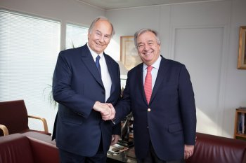 His Highness Prince Shah Karim Al Hussaini, Aga Khan IV, meets with UNHCR Antonio Guterres at UNHCR Headquarters