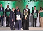 Leila Araghian (center) received the Aga Khan Award for Architecture from Sheikh Mohammed bin Rashid Al Maktoum, the Vice President and Prime Minister of UAE and Emir of Dubai (left of her), and the Aga Khan (right of her). Marina Tabussum (at the far right), designed the Bait Ur Rouf mosque. Photo © AKDN/Gary Otte