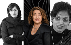 Left to right - Leila Arghian, Zaha Hadid & Marina Tabassum, 3 Women Architects who won the AKAA 2016 Prize (Image credit: MVSLIM.com)
