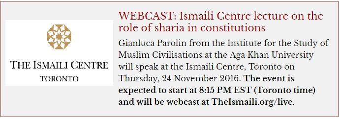 Ismaili Centre lecture on the role of sharia in constitutions