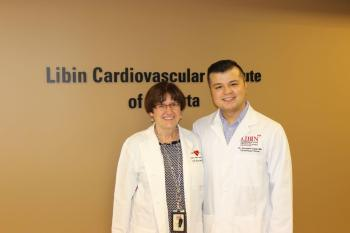 Cardiology trainee Dr. Zardasht Oqab with the Dr. Katherine Kavanagh, Director of the Libin Institute's core cardiology training program.
