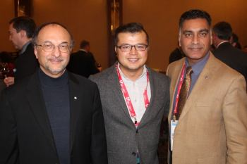 Dr. Zardasht Oqab (centre) with Dr. Zaheer Lakhani CM (left) and Al-Karim Walli at the 2016 Canadian Cardiovascular Congress