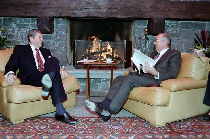 11/19/1985: President Reagan and Soviet General Secretary Gorbachev at the Summit in Geneva, Switzerland. (image credit: The U.S. National Archives and Records Administration: Ronald Reagan Presidential Library & Museum)