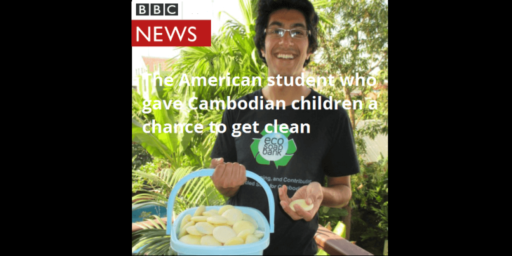 Samir Lakhani, Eco-Soap Bank project, featured on BBC