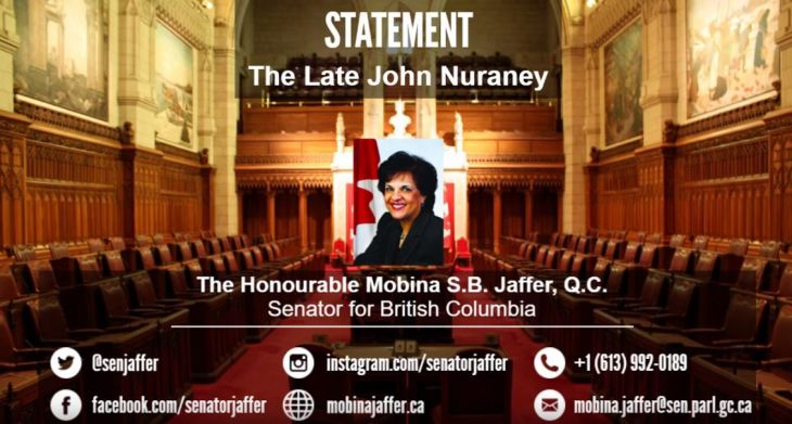 Senator Mobina Jaffer offers a tribute in honor of the late John Nuraney in the Canadian Senate