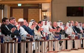 His Highness Prince Karim His Highness Prince Karim Aga Khan (1st right in navy blue suit) with UAE's ruling leadership, head of states and dignitaries from 40 countries during the Abu Dhabi Declaration, Safeguarding Endangered Cultural Heritage Conference at Emirates Palace in Abu Dhabi, United Arab Emirates. (Image credit: Gulf Today)Aga Khan (1st right in navy blue suit) with UAE's ruling leadership, head of states and dignitaries from 40 countries during the Safeguarding Endangered Cultural Heritage Conference at Emirates Palace in Abu Dhabi, United Arab Emirates. (Image credit: Gulf Today)