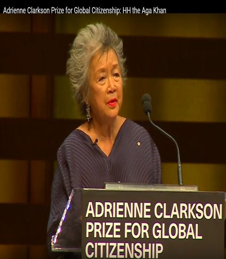 6 Degrees releases much anticipated full event video of the Adrienne Clarkson Prize for Global Citizenship honouring His Highness Prince Karim Aga Khan in Toronto, Canada on September 21, 2016