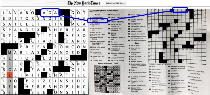 Brand Recognition: Aga Khan University in New York Times Crossword Puzzle - FRIDAY, DECEMBER 2, 2016