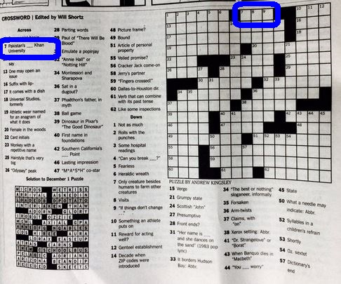 Brand Recognition: Aga Khan University in New York Times Crossword Puzzle
