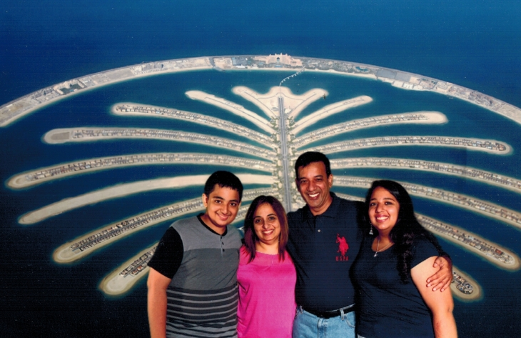 The Dharani family, (L-R) Alyaan with his mother - Shayrose, father Shaukat and elder sister Inaara