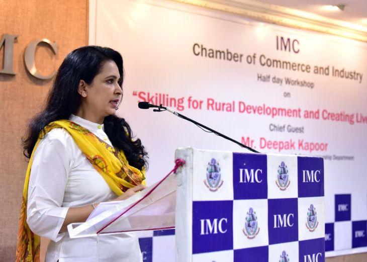 Dr. Farida Virani speaks at Indian Merchant's Chamber's Seminar: Skilling for Rural Development and Creating Livelihood