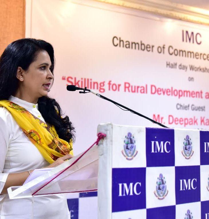 Dr. Farida Virani speaks at Indian Merchant's Chamber's Seminar: Skilling for Rural Development and Creating Livelihood