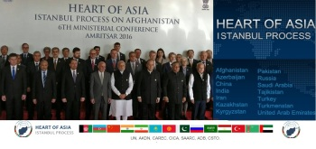 Sunday, Dec 4th, 2016 - Amritsar, India: Prime Minister Narendra Modi, along with Afghanistan's President Ashraf Ghani, and other delegates, pose for a group photo before the inauguration of the 6th Heart of Asia Ministerial Conference. Mrs. Nurjehan Mawani, AKDN Resident Representative for Afghanistan, is seen standing at the back row, 3rd person from the left. (Image credit: MEA via The Indian Express)