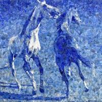 Lapis Lazuli Mosaic: Horses - by Ismail Gulgee