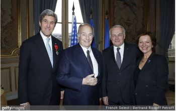 PARIS, FRANCE - DECEMBER 10: U.S. Secretary of State John Kerry, His Highness Prince Karim Aga Khan, Jean-Marc Ayrault and Brigitte Ayrault attend the ceremony for John Kerry being decorated 'Grand Officier de la Legion d'Honneur' at Quai d'Orsay on December 10, 2016 in Paris, France. (Photo by Bertrand Rindoff Petroff/Getty Images)