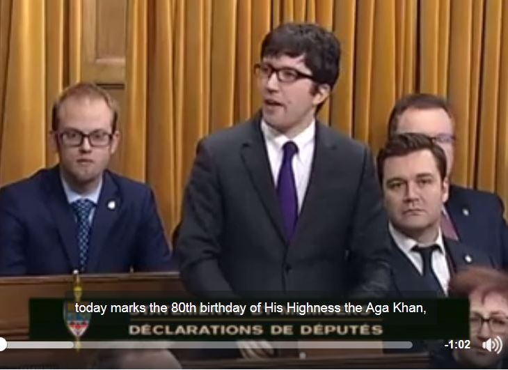 Garnett Genuis, Conservative MP wishes the Aga Khan a happy 80th birthday during the December 13th, Parliament of Canada session
