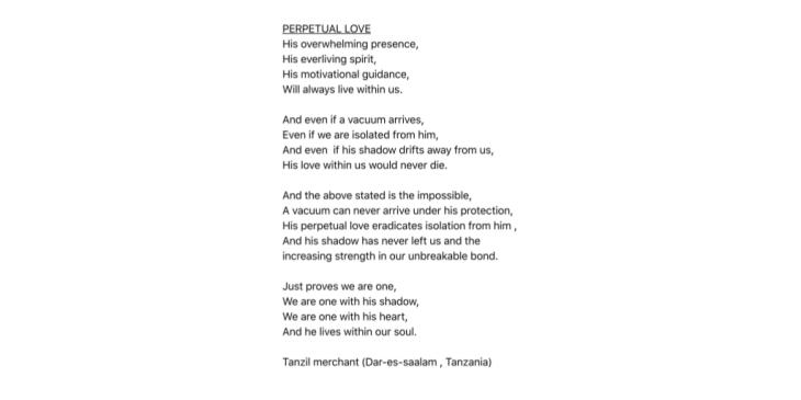 Poem: Perpetual Love (Dar-es-saalam, Tanzania)