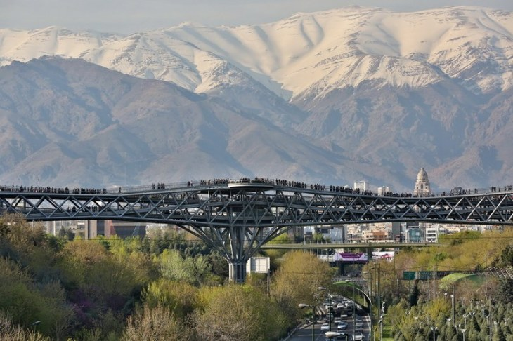 The Tabiat Pedestrian Bridge, which won the 2016 Aga Khan Award for Architecture, is in Tehran and is designed by the Iranian architect Leila Araghian. (Image credit: Barzin Baharlouie via Architectural Digest)