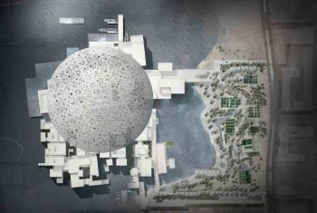 The Louvre Abu Dhabi, UAE: Arial view and site plan. Designed by Jean Nouvel, (image credit: Ateliers Jean Nouvel)