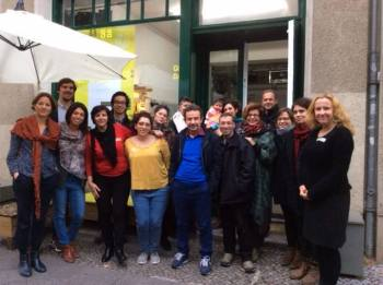 "Syrian Ismaili refugee Halah Al-Hayik presents workshops on ""Integration and Identity"" at Sharehaus Refugio and Goethe Institut, Berlin"