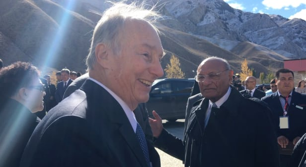 Prince Karim Aga Khan IV talks to reporters at the UCA inauguration in Naryn, Kyrgyzstan. Photo by: Michael Igoe/Devex