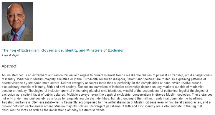 """The Fog of Extremism: Governance, Identity, and Minstrels of Exclusion"" by Professor Amyn B. Sajoo"